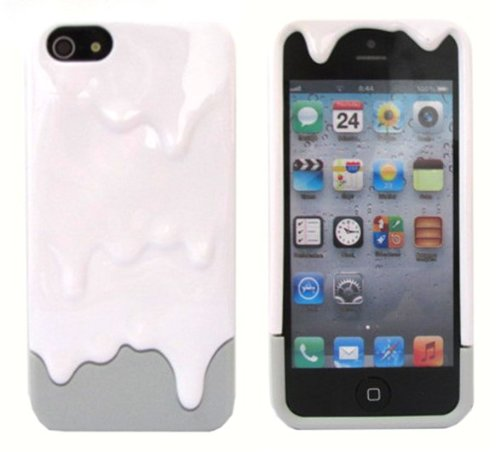 Katecase Hot Sell Melting Ice Cream Hard Back Cover Case for iPhone 5 5S White/Grey