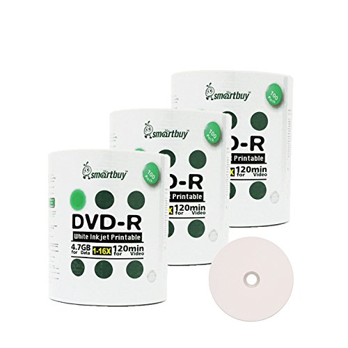 Smartbuy 4.7gb/120min 16x DVD-R White Inkjet Hub Printable Blank Media Recordable Disc (300-Disc)