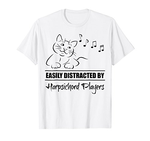 Curious Cat Easily Distracted by Harpsichord Players T-Shirt