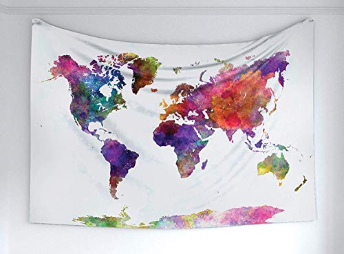 NSBSS-NC Watercolor Tapestry, Multicolored Hand Drawn World Map Asia Europe Africa America Geography Print, Fabric Wall Hanging Decor Bedroom Living Room Dorm, 60 W X 40 L Inches, -
