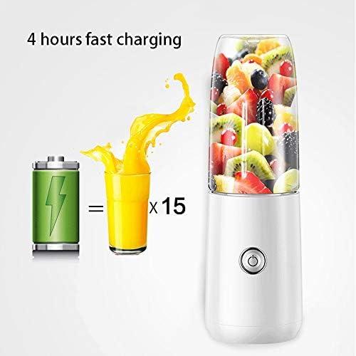 Juicer masticating Smoothie Mixer, draagbare Mixer 300ml Mixer Juice Cup USB opladen 1500mAh, Intelligent Power Off Protection, Geschikt for Fruit, Milkshake en babyvoeding (wit)