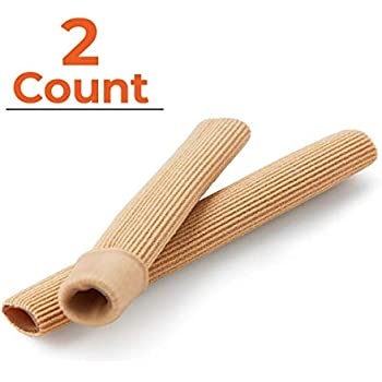 NatraCure Gel Toe Tube Cushion Sleeves (Small) - 2 Piece Trim-to-Fit Tubing Set - (Relieves and Protects Corns, Blisters, Hammertoes, and Calluses) - 1200-M CAT