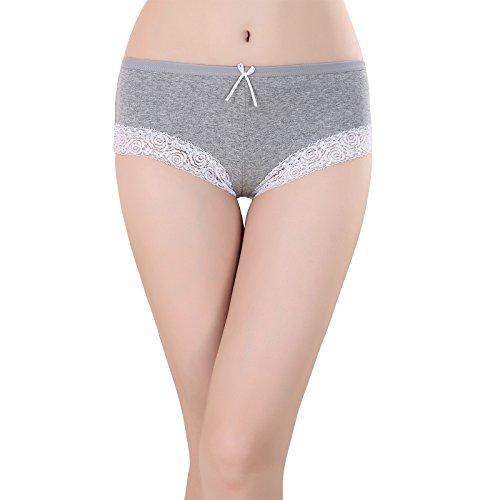 Damen Slips Ultra Soft Baumwolle Unterhosen 4er Pack Mädchen Lace Unterwäsche