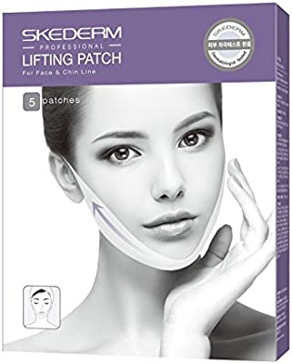 SKEDERM Lifting Band Patch for Face and Chin Line, Reduces Double Chin, V Line, Chin Up, Firming and Moisturizing Mask, Pack of 5