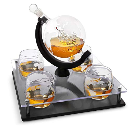 Bezrat Etched Globe Whiskey Decanter Set + 4 Whisky Glasses 10 Oz. on Rich Wood Mahogany Acrylic Base Tray Stand - Gift Packaging - Antique Ship Whiskey Dispenser for Liquor Scotch Bourbon Vodka