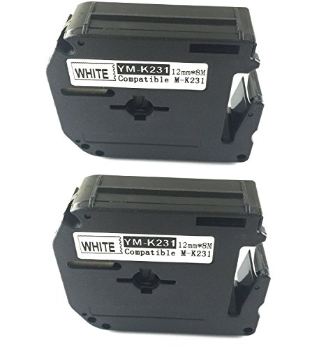 2PK compatible for Brother P-touch Labels M-K231 MK231 WHITE Tape PT100, PT110