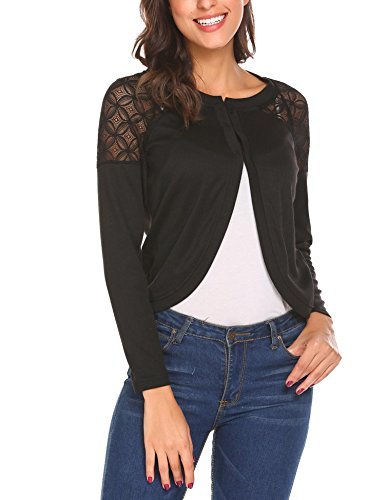 Concep Long Sleeve Slim Fitted Cropped Open Front Shrug Bolero Cardigan Tops For Lady (Black, S)