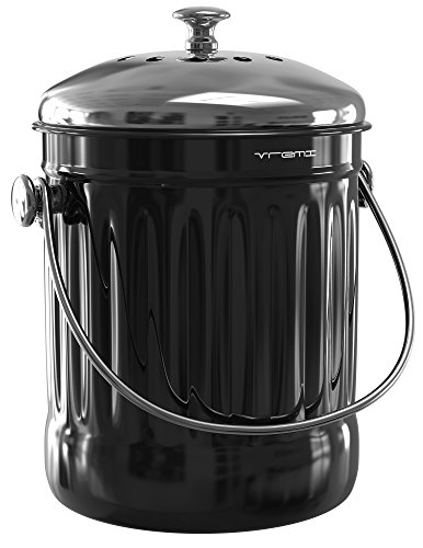 Vremi Kitchen Compost Bin for Counter or Under Sink - 1.2 Gallon Small Metal Indoor Home Apartment Eco Compost Pail for Biodegradable Organic Food Waste with Charcoal Filter - Stainless Steel - Black