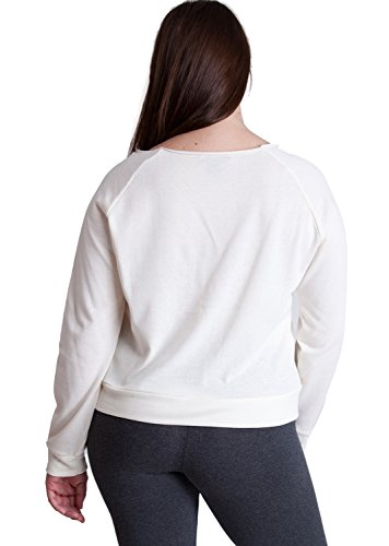 Ladies Cream Plus Size Raw Cut Neckline Long Sleeve Sweater Top