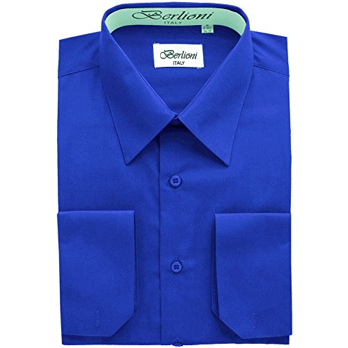 Men's Dress Shirt - Convertible French Cuffs ,Royal Blue,Large (16-16.5