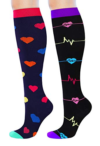 Women's Compression Socks Nursing Knee High Compression Stockings for Nurses, Pregnant Woman, Travel,15-20 mmhg, S/M