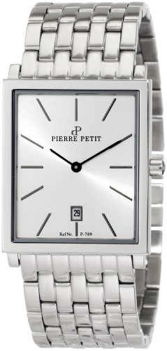Pierre Petit Men's P-789E Serie Nizza Square Case Stainless-Steel Bracelet Watch