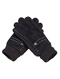 Men's Winter Gloves Warm Suede Leather Knitted Gloves Thick Black