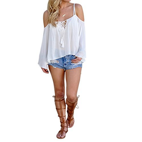 Diamondo Sling Strapless Long Sleeved Shirt Sexy Women Loose Shirt (White, L)