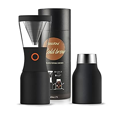 Asobu Coldbrew Portable Cold Brew Coffee Maker With a Vacuum Insulated 40oz Stainless Steel 18/8 Carafe Bpa Free