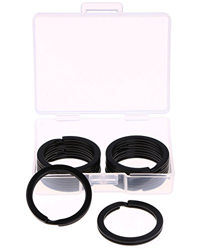 Shapenty 1 Inch/25mm Diameter Metal Flat Split Key Chains Rings for Home Car Keys Attachment (Black,10PCS/Box) (Split Key)