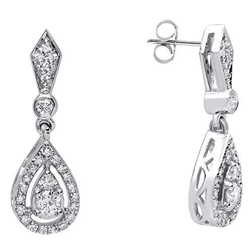 (Dazzlingrock Collection 0.35 Carat (ctw) 18K Round Diamond Ladies Dangling Drop Earrings 1/3 CT, White Gold)
