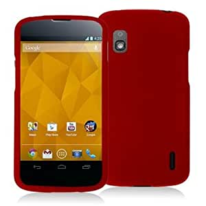 Red Snap-On Hard Skin Case Cover for LG Nexus 4 E960