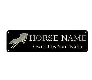 Personalizado placas caballo 2Pony estable puerta señal aluminio negro con plata diseño 200x 50mm, negro/plata, Black Rounded 4 Holes