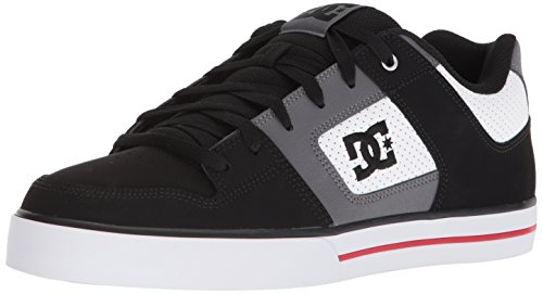 DC Men's Pure Skate Shoe, White/Black/Red, 11.5 D US