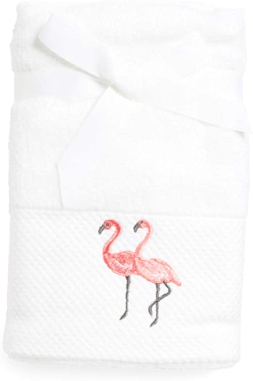 Amazon Com Sage Island Spa Embroidered Flamingo Pink White Hand