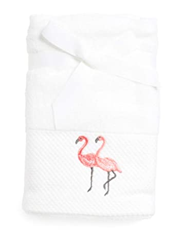 Sage Island Spa Embroidered Flamingo Pink White Hand Towel Set