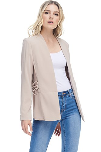 A+D Womens Casual Open Fully Lined Blazer Jacket W/Side Details (Taupe, Small)