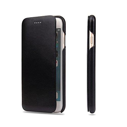 Apple iPhone 7 Plus/8 Plus Flip Case Handy Klapp Hülle Echt Leder Handytasche Schutzhülle,Schwarz