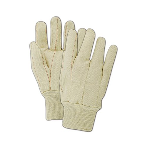 Large Double Palm Cotton/Polyster Blend Gloves with Non-Woven Lining and a Knit Wrist Cuff (994KNW) - Off White (12 (Corded Canvas Glove)
