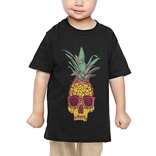 Price comparison product image Pipi66xiami Kids Tropical Pineapple Skull Unisex Infants Crew Neck Short Sleeve Tee