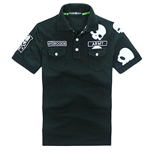 ハイドロゲン HYDROGEN ポロシャツ 半袖 メンズ カジュアル トップス インナー スポーツ ゴルフSKULL POLO-SHIRT (S, ブラック)