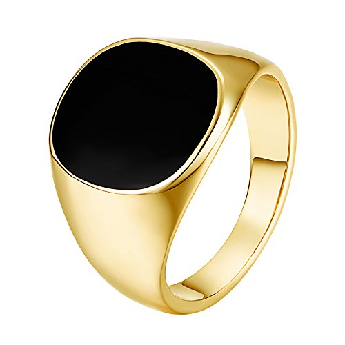 Yoursfs Black Ring Men Silver Stainless Steel Band Signet Onyx Oval Enamel Pinky Ring Men Wedding Gift (Signet Ring, 9) -