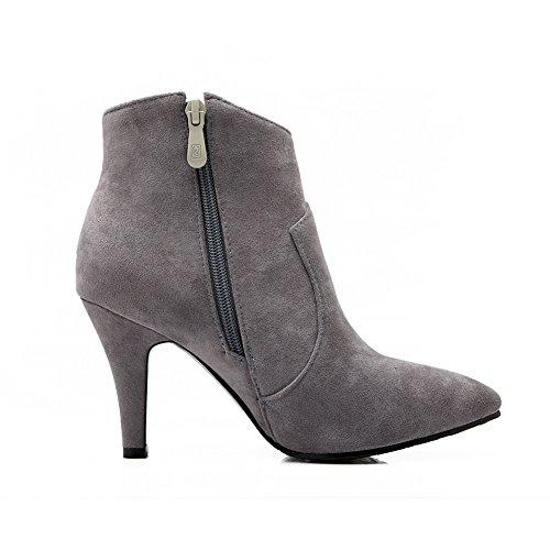 Frosted Boots Gray Heel Shoes Wheeled BalaMasa Mule Zipper Ladies xnWgwq06ZO