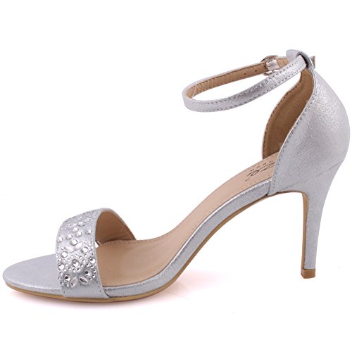 Stiletto Cinturino Dimensioni Argento Le Unze Parte Retro Sandals Sul Heel Donne Strap Ladies 8 Banco Slittamento Compleanno Caviglia Betty 3 Party Moda Paillettes Uk Toe Alla Decorata Sera wS8IqS