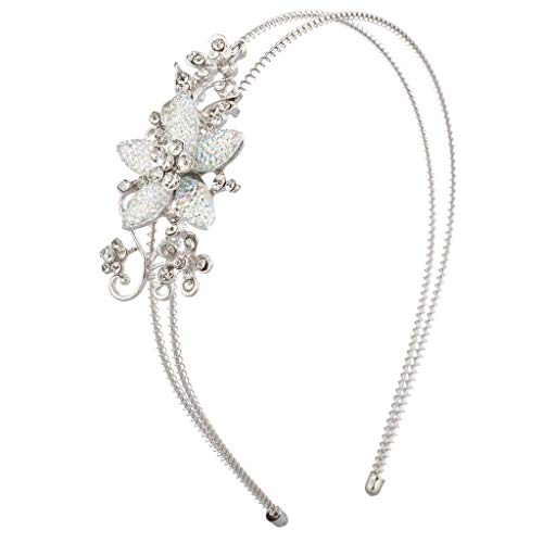 Lux Accessories Silver Tone Stone Floral Crystal Flower Wire - Caviar Crown