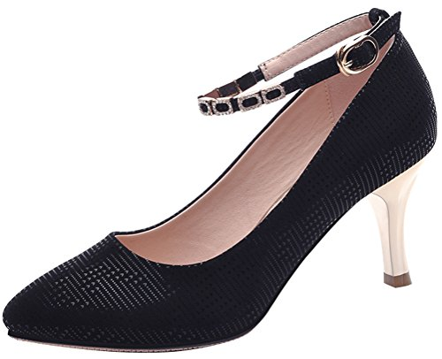 T&Mates Womens Ankle Strap Pointed Toe Stiletto Heel Dressy Comfort Summer Pumps Shoes (7.5 B(M)US,Black)
