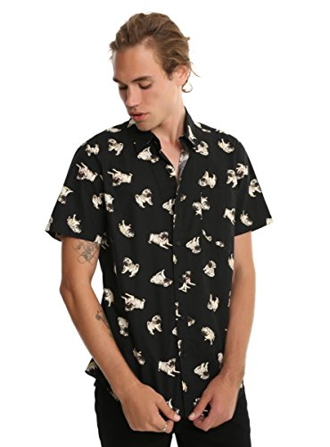 Hot Topic Pug Print Short-Sleeved Woven Button-Up (Pug Button)
