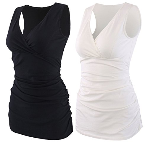 KUCI Maternity Nursing Tank Top, Women Maternity Pajama Tops Nursing Cami Sleep Bra for Breastfeeding