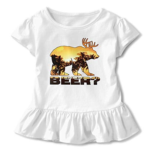 Sheridan Reynolds Beer Bear Deer Palm Tree Toddler Girls' Short-Sleeve Shirts Basic Tops White