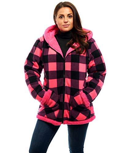 - TrailCrest Ladies Smart Plush Sherpa Lined Hooded Sweater Jacket - Zip-Up Classic Pattern