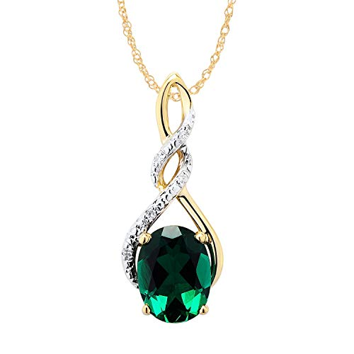 10k Yellow Gold Created Emerald Necklace with Diamond Accents - 7/8 Inch Twist Pendant 8x6 MM Created Emerald and 18 Inch Rope Chain