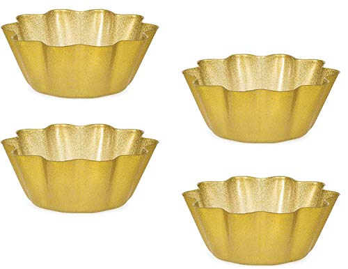 Graduation/Wedding Holiday Theme Plastic Glittery Gold Snack/Serving Bowl Party Supply Bundle - 4 8