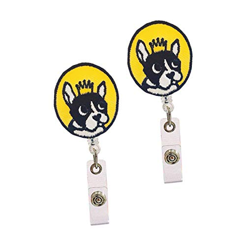 2 Pack French Bulldog Embroidery Patch Retractable Nurse Badge Holder ID Card Holder Reel with Clip Yellow Ski Pass