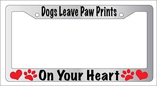 Pet Dog Cat Paw Print License Plate Frame Customizable Chrome
