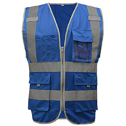 GOGO US Big Size 9 Pockets High Visibility Zipper Front Safety Vest With Reflective Strips, Meets ANSI Standards