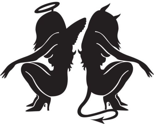Sexy Devil and Angel Girls Vinyl Decal Car Window Wall Laptop Sticker, Die Cut Vinyl Decal for Windows, Cars, Trucks, Tool Boxes, laptops, MacBook - virtually Any Hard, Smooth Surface