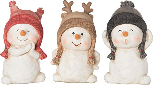 - Transpac Imports D0819 Resin Snowman Set of 3 Figurines, White