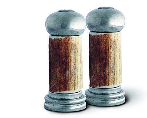 Shakers Salt Pepper Pewter (Vagabond House Real Antler and Pewter Salt and Pepper Shaker Set, 4