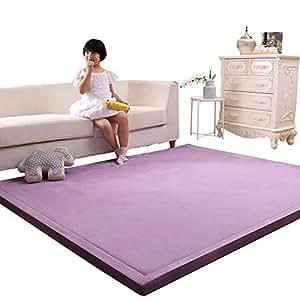 Purple 4.92x 6.56 Livingroom Rug Yoga Mat Lyfreen Memory Foam Baby Floor Rug Modern Area Rug Nursery Floor Rug for Boys Girls Ultra Soft Childrens Carpet Infant Toddler Play Mat