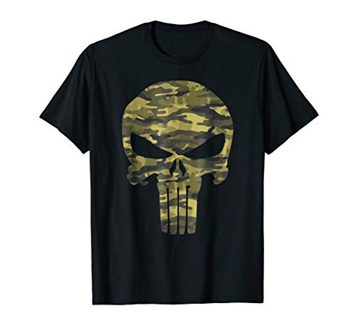 Marvel The Punisher Camo Skull Symbol Graphic T-Shirt